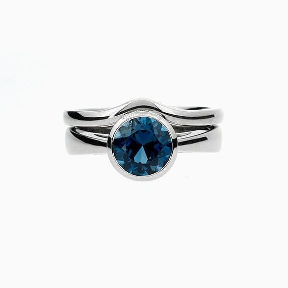 On Sale, Cathedral engagement ring set with London Blue Topaz bezel ring