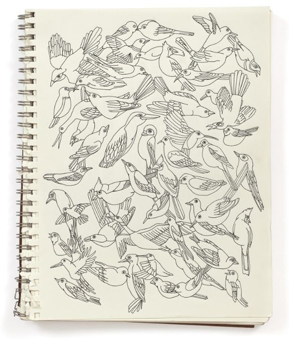 Here's a page of one of Julia Rothman's sketchbooks. Rothman is known for her illustrations and fine (and fun!) wallcoverings.