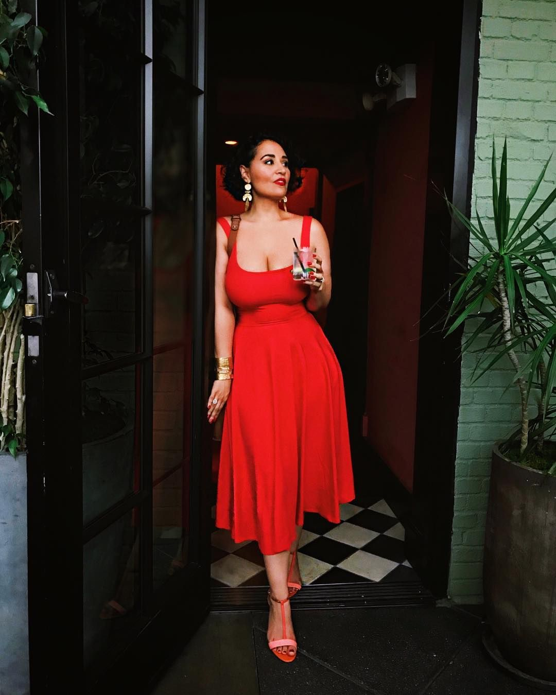 Alejandra Ramos Wears A Red Scoop Neck Tank Dress From Reformation This Is The Rou Dress In Red And Is Summer Dresses Modest Summer Dresses Lace Dress Outfit [ 1350 x 1080 Pixel ]