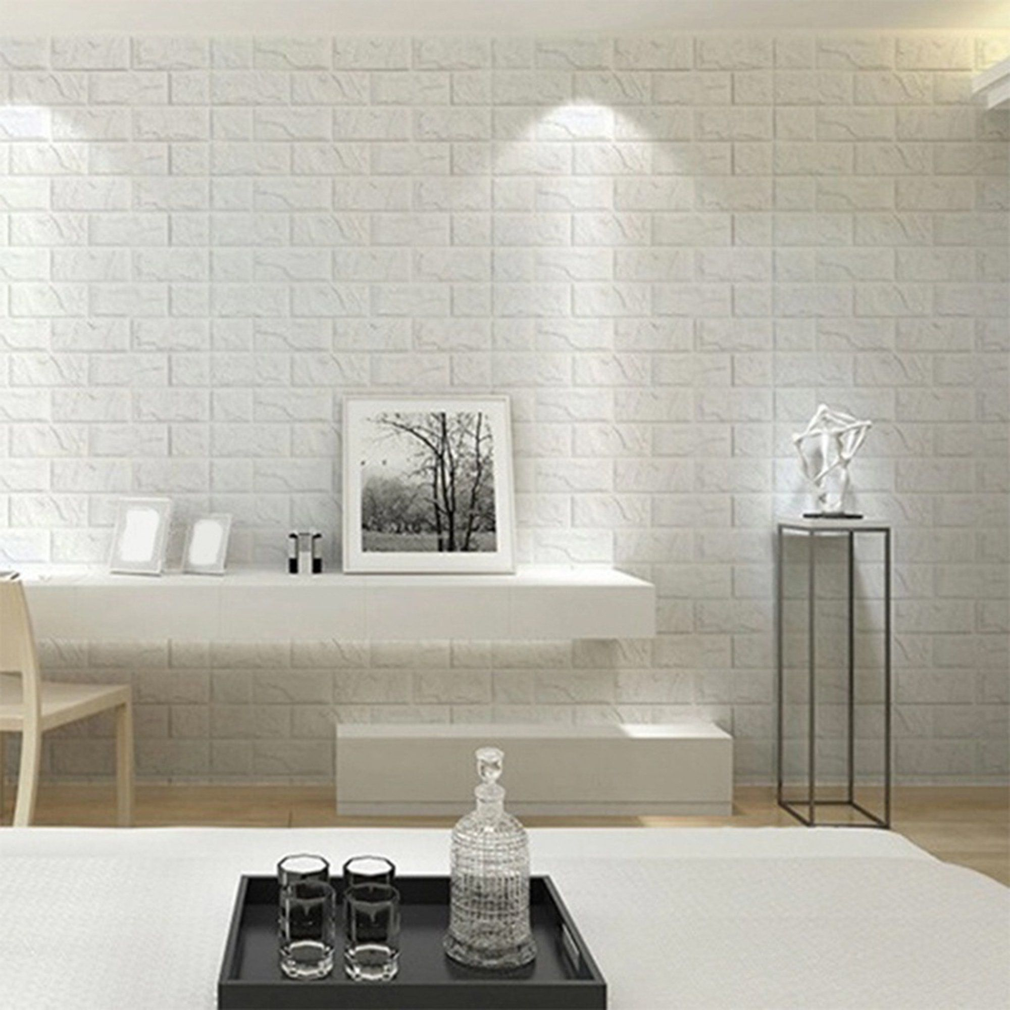 Nk 1 200pcs 3d Self Adhesive Wall Panels Faux Foam White Brick Wallpaper For Tv Walls White Brick Wallpaper Brick Wall Paneling Brick Wallpaper Peel And Stick