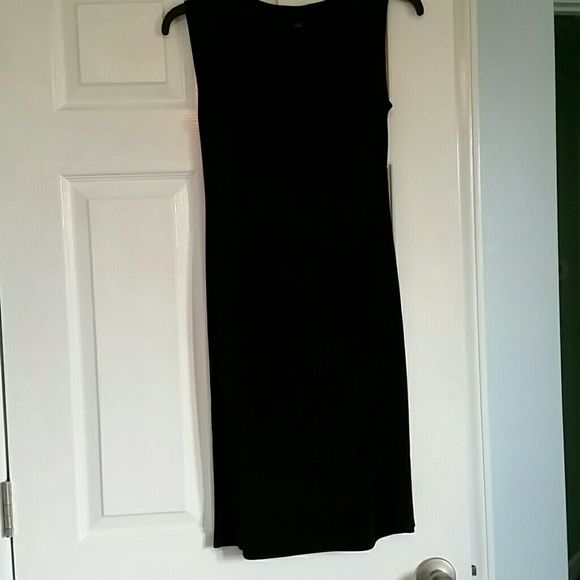 Little black dress by Ann Taylor Adorable little black dress with cowel neck and faux wrap skirt. Dresses Midi