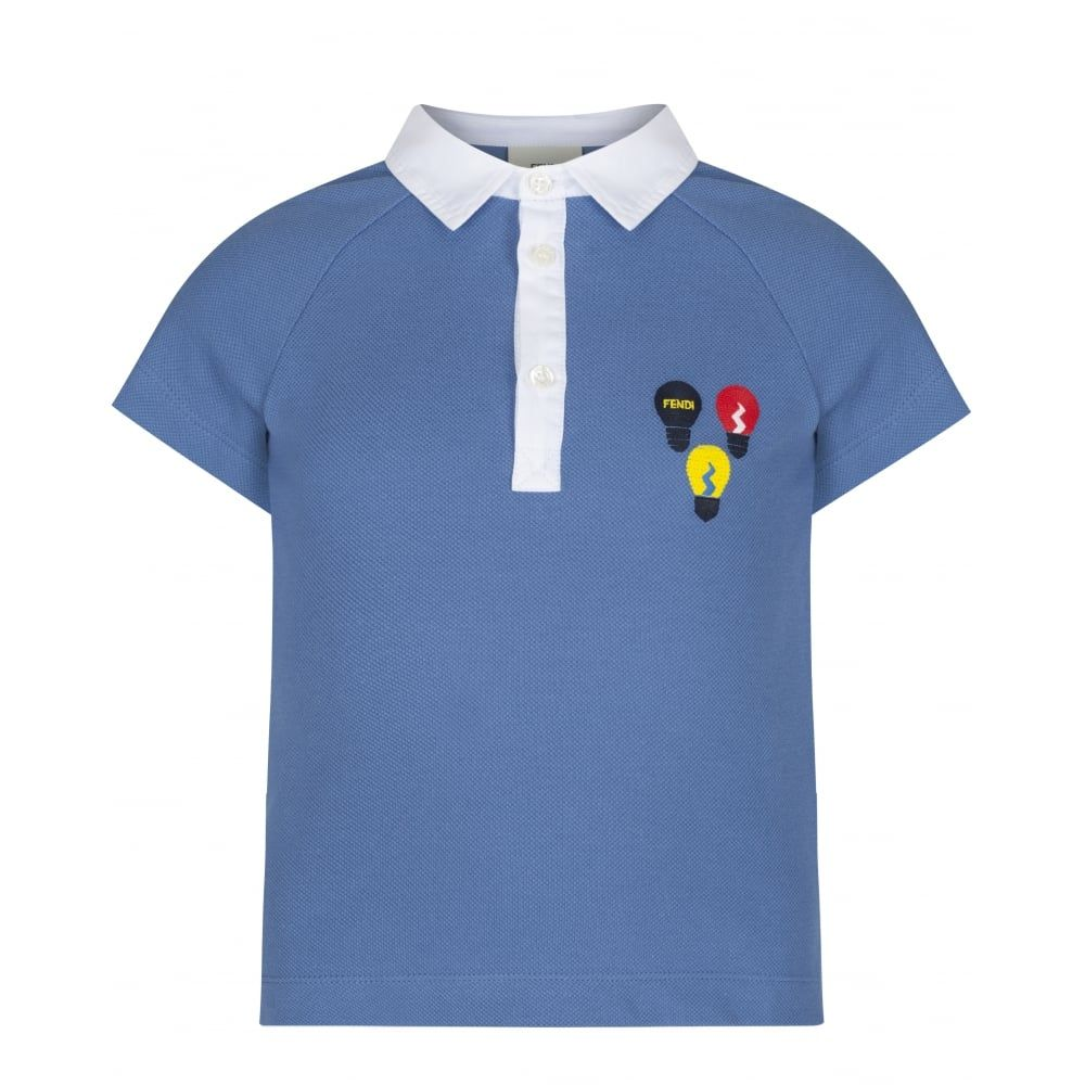Boys White Polo Shirt with Blue detail Collar