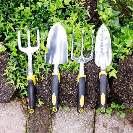 Pure Garden 4-Piece Garden Tool Set with Comfort Grip Handles, Silver