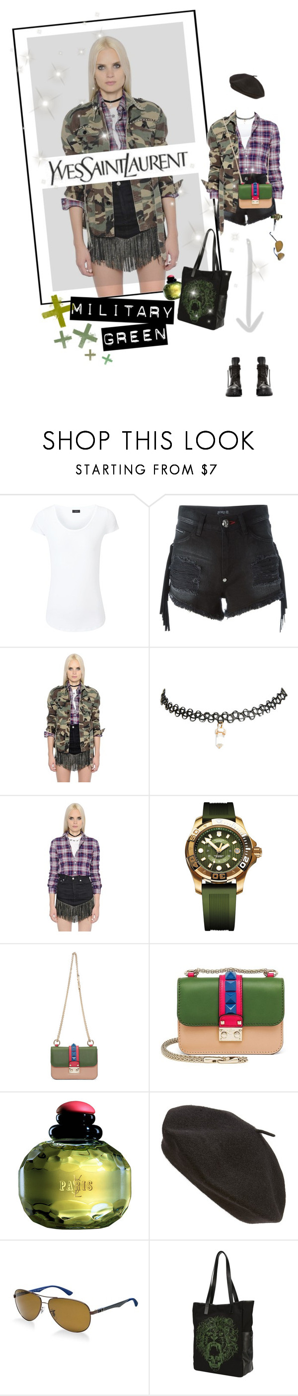 """C A M O U F L A G E"" by meddyanka ❤ liked on Polyvore featuring Joseph, Philipp Plein, Yves Saint Laurent, Wet Seal, Victorinox Swiss Army, Valentino, Parkhurst, Ray-Ban, Alexander McQueen and Rick Owens"