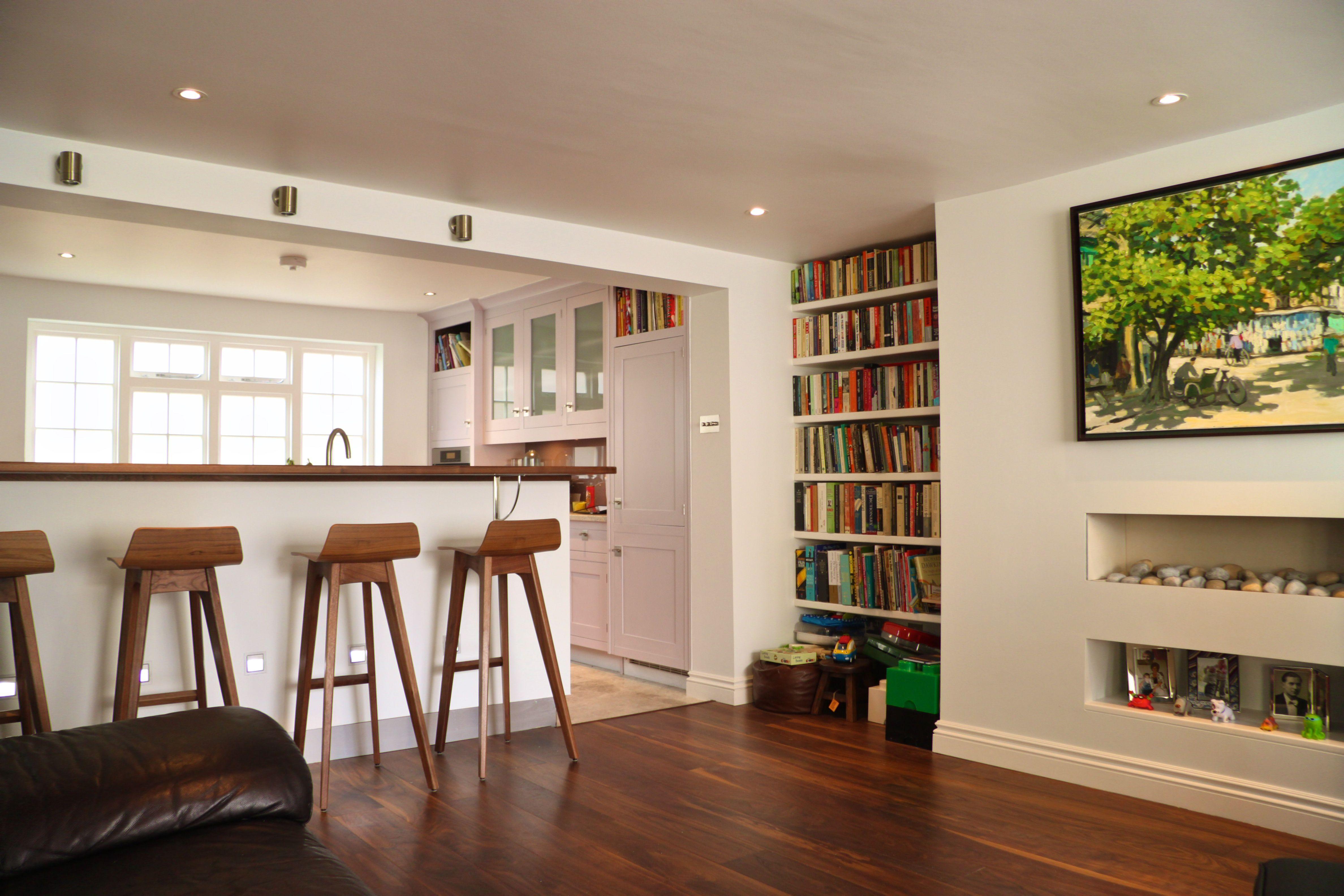 Breakfast Bar Bookshelf Dark Wooden Floor White Walls Dark Wooden Floor White Walls Architect