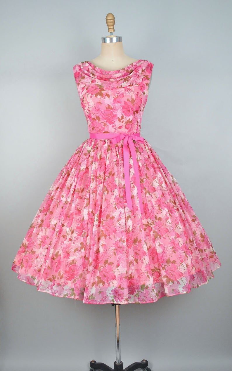 Vintage 50s Rose Print Party Dress 1950s Floral Roses Chiffon Bridal Wedding Cocktail Evening Formal Party Betty Draper Pinup Medium Large Vintage 1950s Dresses Vintage Party Dresses Kids Designer Dresses [ 1270 x 794 Pixel ]