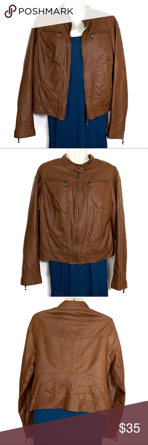 American Rag Brown Faux Leather Jacket Large Brown faux