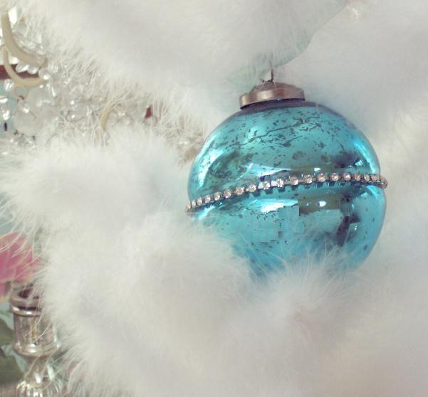 shabby chic christmas orniments' | SHABBY AQUA RHINESTONE MERCURY GLASS CHIC CHRISTMAS TREE ORNAMENT