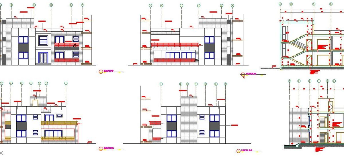 Modern House Plans Dwg Download Project Of A Modern House In Autocad Plans Facades Sections General Plan Modern House Plans Latest House Designs Modern House