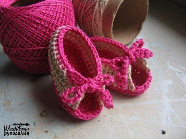 Patron zapatitos a crochet para bebe gratis   BB CROCHET zapaticos ...