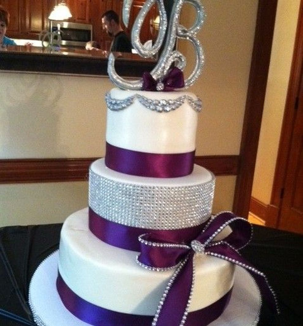 83 Silver And Purple Wedding Cakes Purple Wedding Cakes Bling