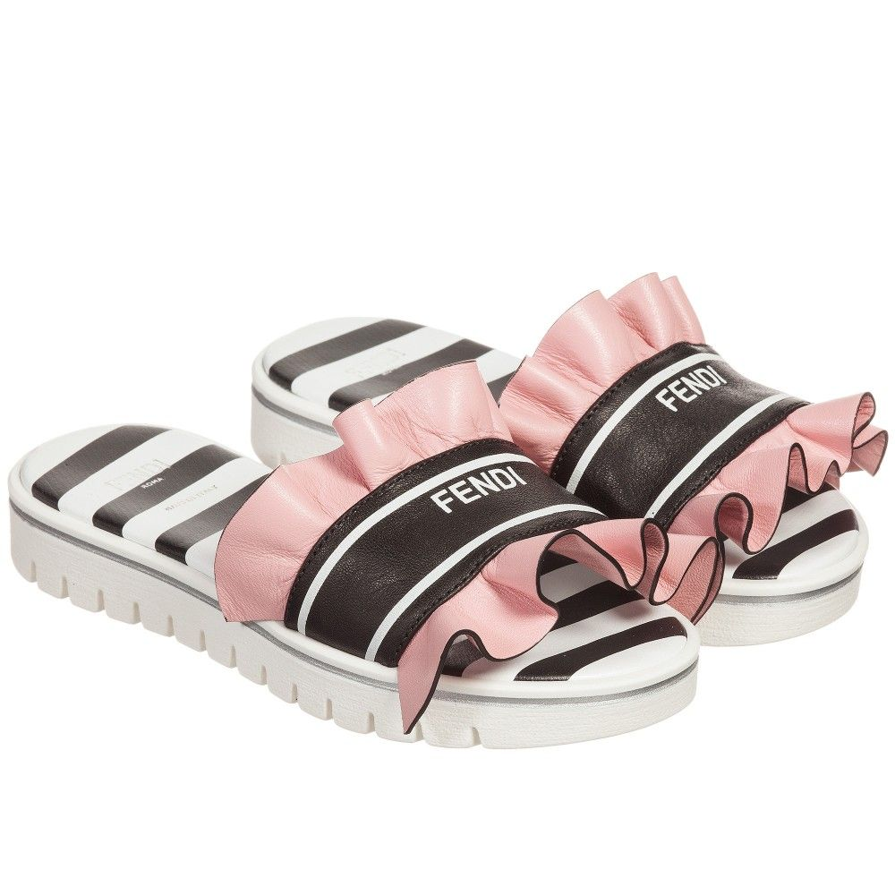 Fendi - Girls Leather Sandals with Pink