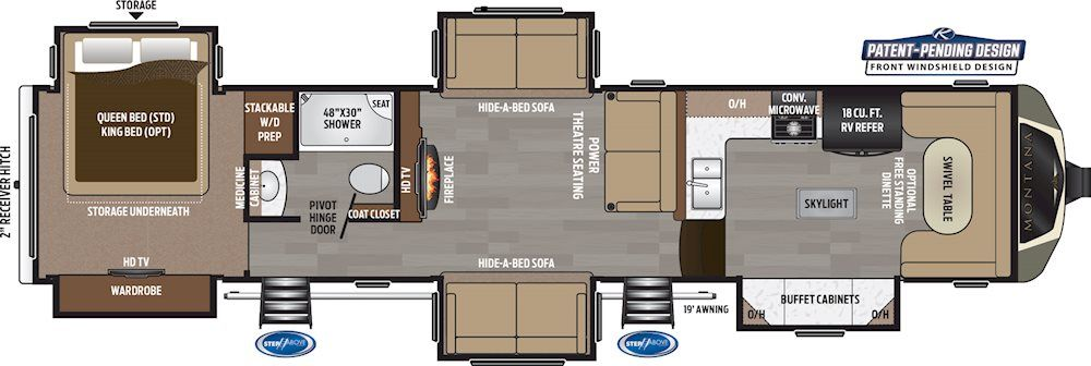 Montana Fifth Wheels 3854br Floorplan Keystone Rv With Images