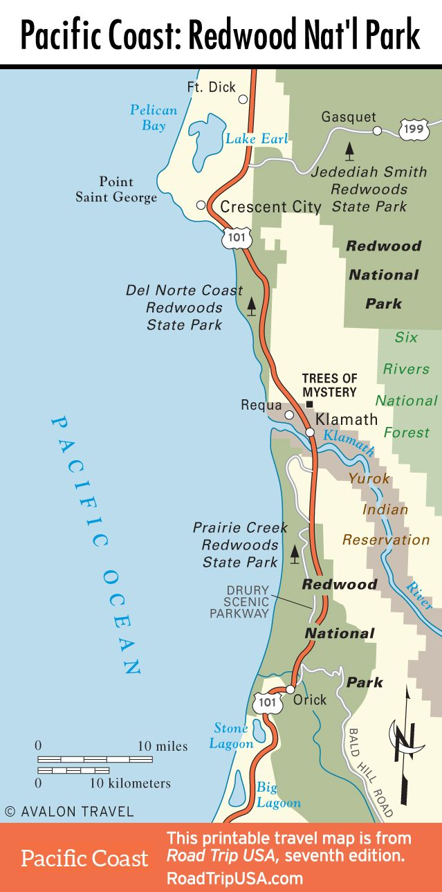 Map of Pacific Coast through Redwood National Park Pacific Coast