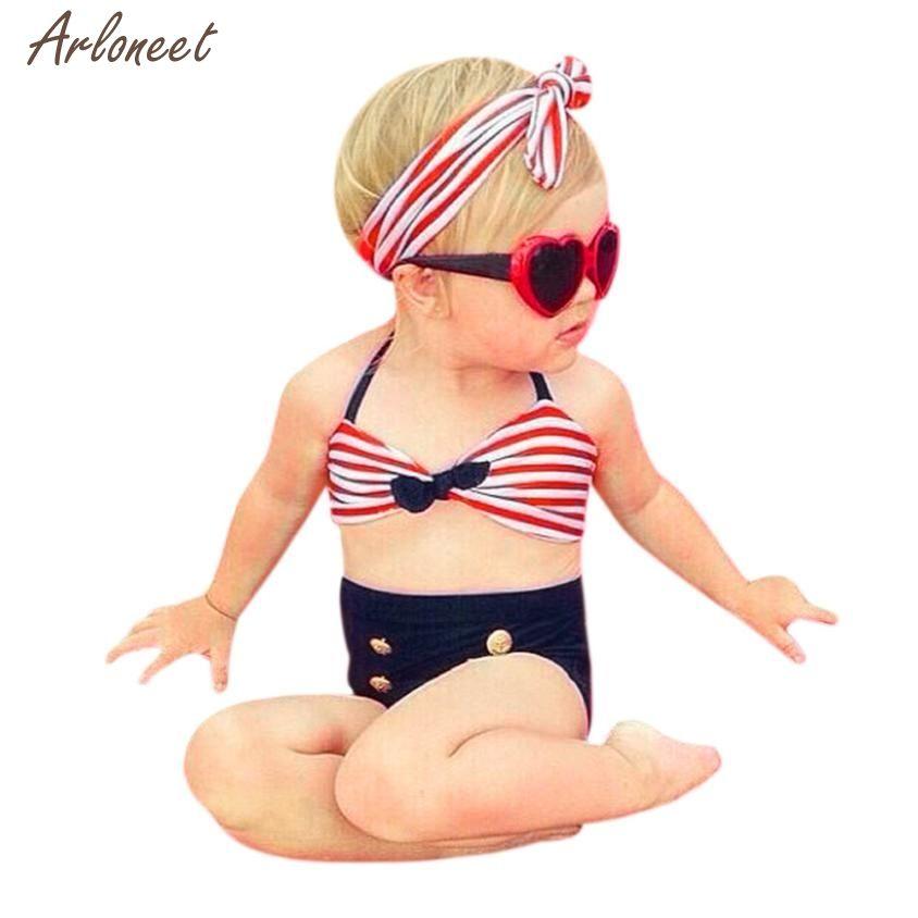 2018 Baby Swimwear Kid Swimsuit Print 3pcs Infant Kids Baby Girls Swimwear Straps Swimsuit Jan12 In Sw Baby Girl Swimwear Girls Swimsuits Bikini Swimwear Girls