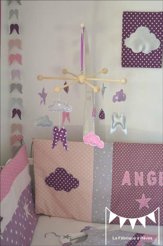 Mobile étoiles Ailes Ange Nuage Décoration Chambre Bébé Fille Mauve Violet  Parme Rose Argent 4