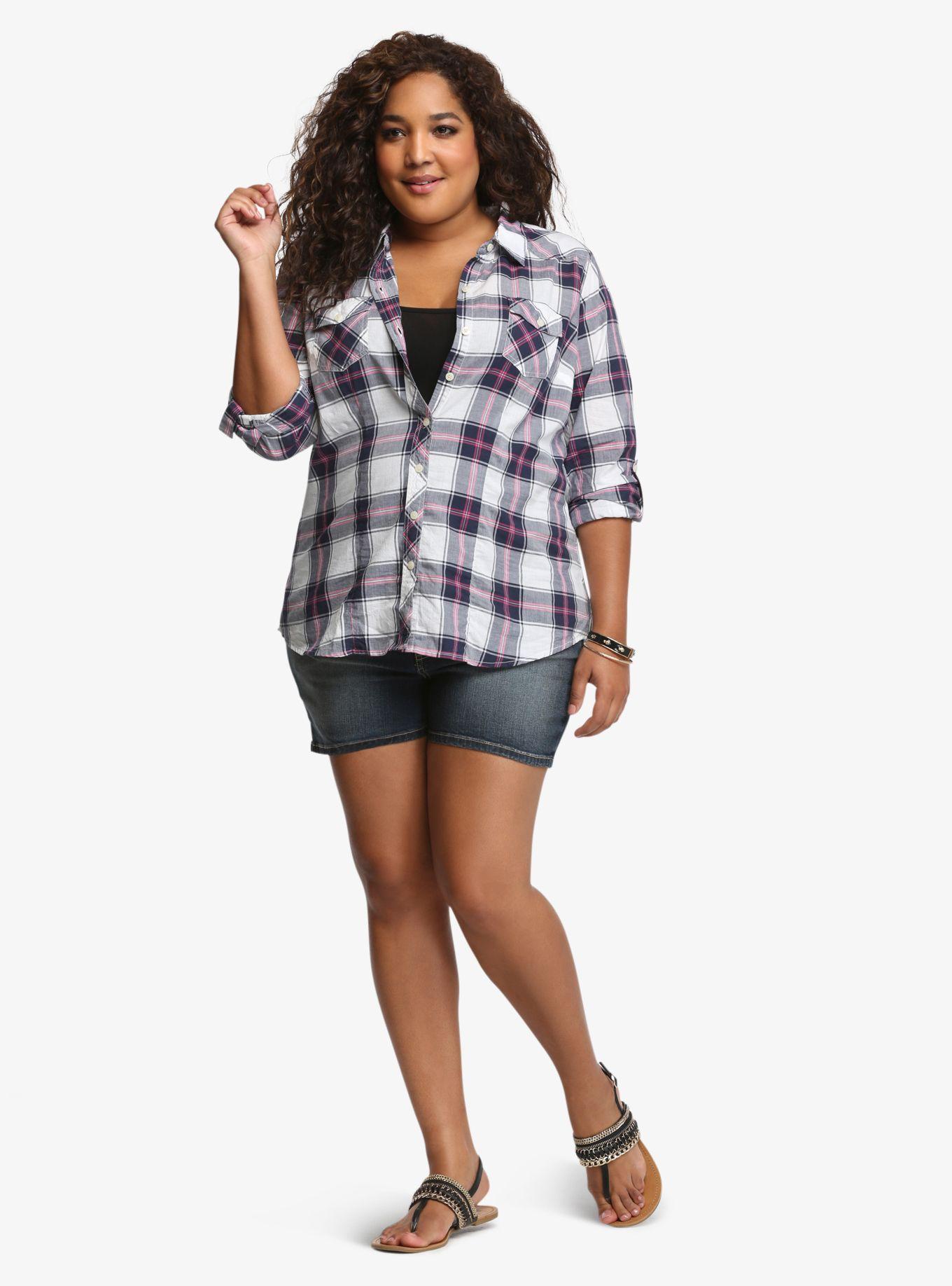 Flannel shirt plus size  Plaid Shirt  Torrid Plaid and White plaid