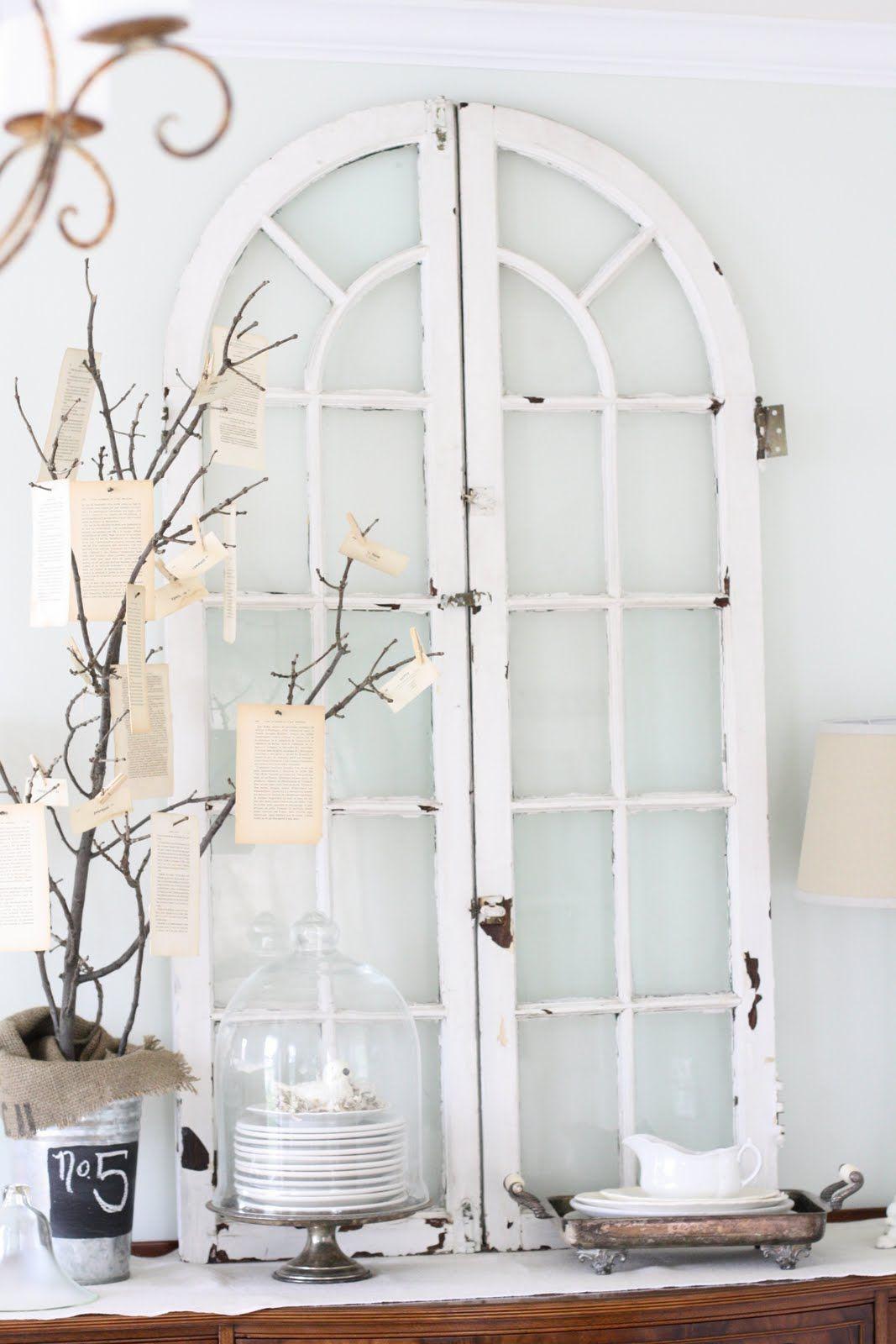 Window dressing ideas for arched windows  vintage window art  christmas decor  pinterest  window art