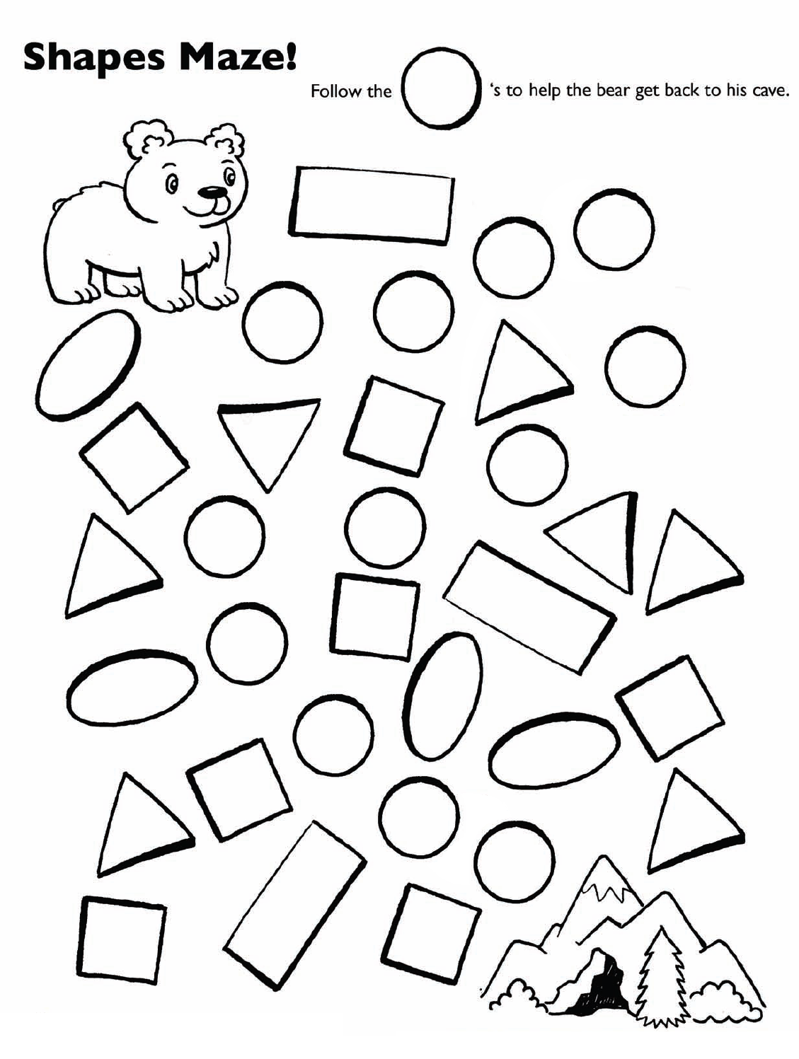 Follow the circles bear shape maze | Teddy Bear Theme Printables ...