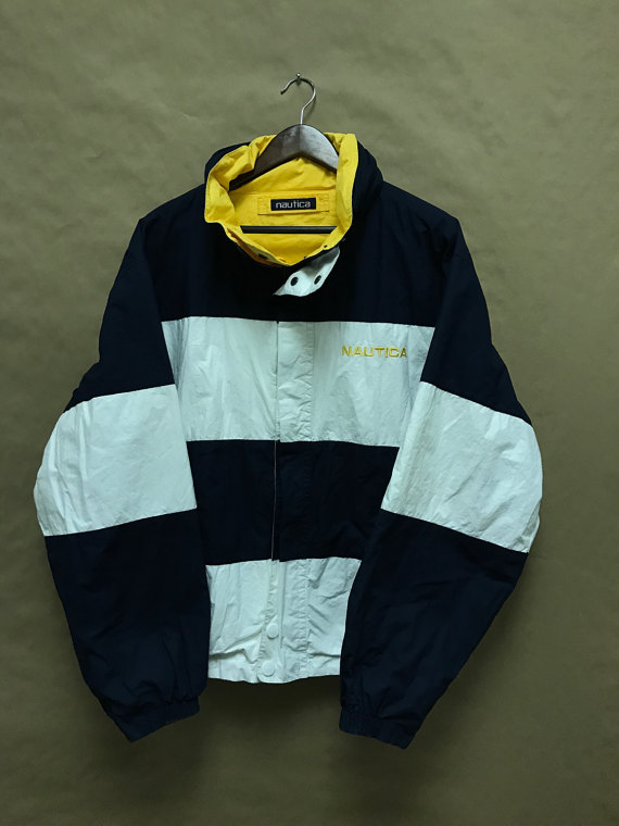 Nautica Reversible Striped Jacket W Packable Hood VTG 90s