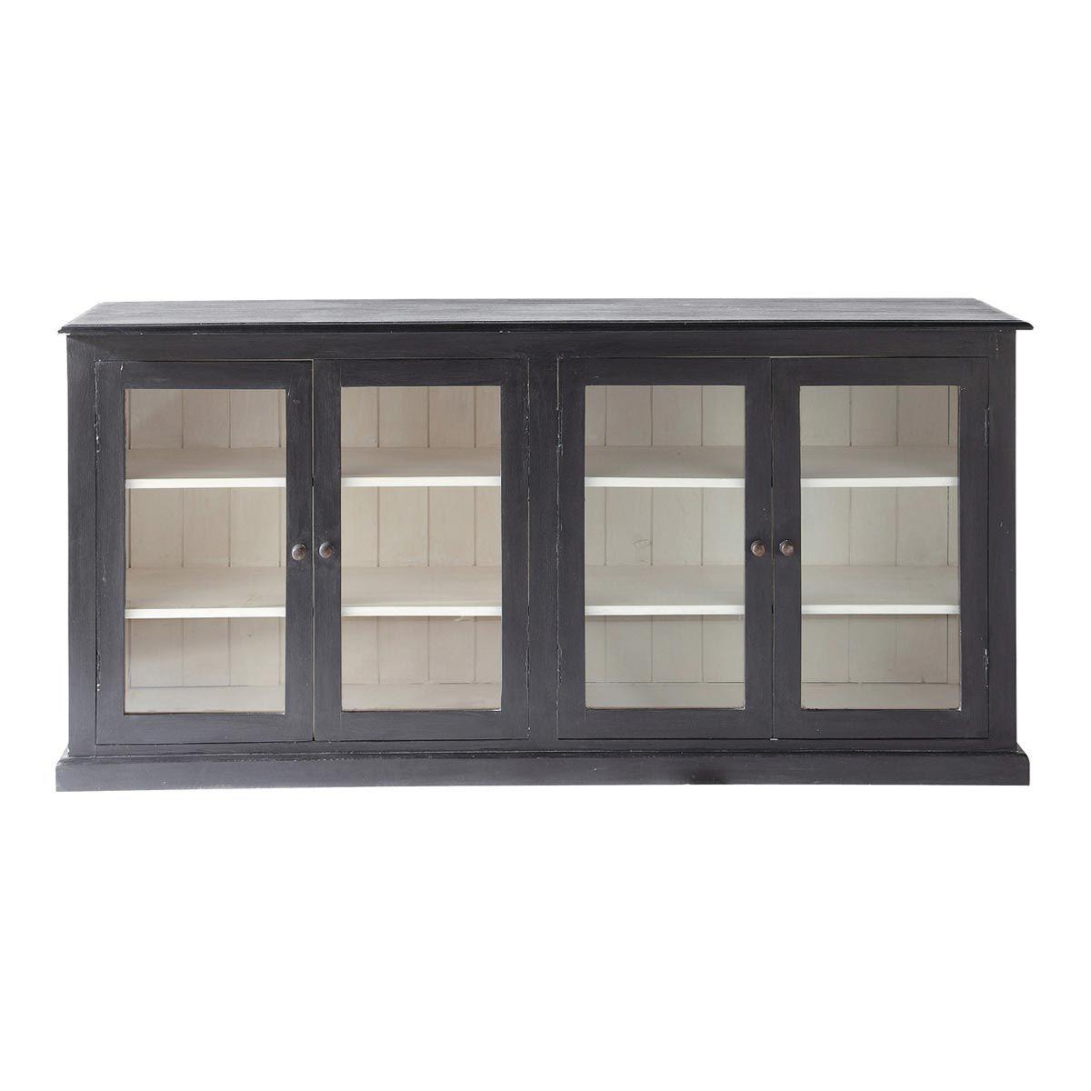 Mango wood glazed sideboard in black w 180cm descartes quatre mango wood glazed sideboard in black w 180cm descartes planetlyrics Choice Image