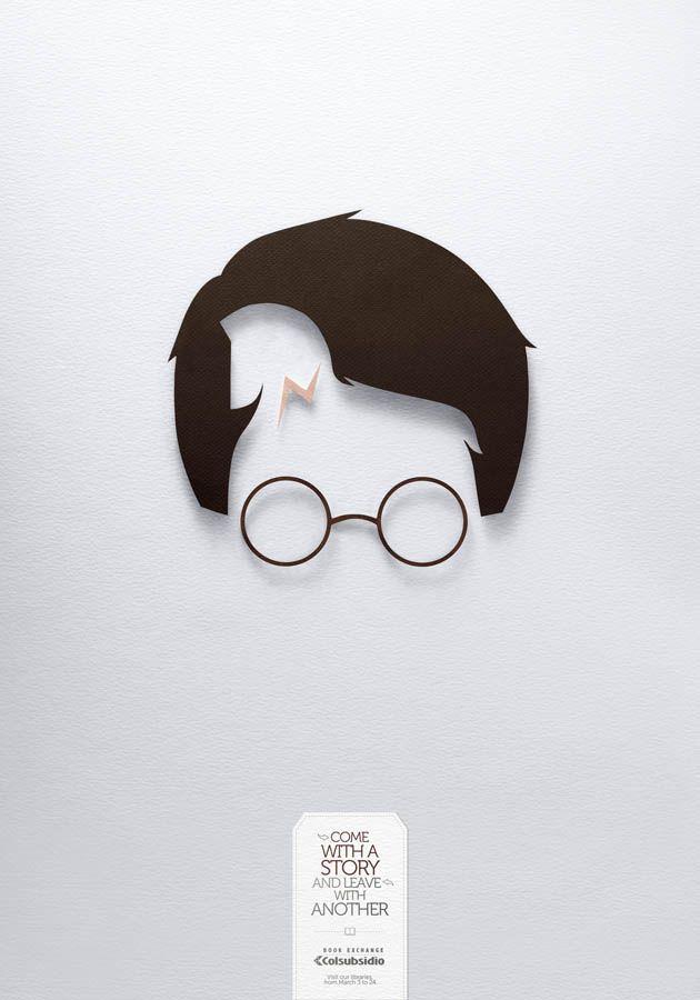 """HP """"Come with a Story and Leave with Another"""" bonita manera de publicitar el intercambio de un libro por otro...me gusta como usan el negativo para hacer visible al personaje! :)"""
