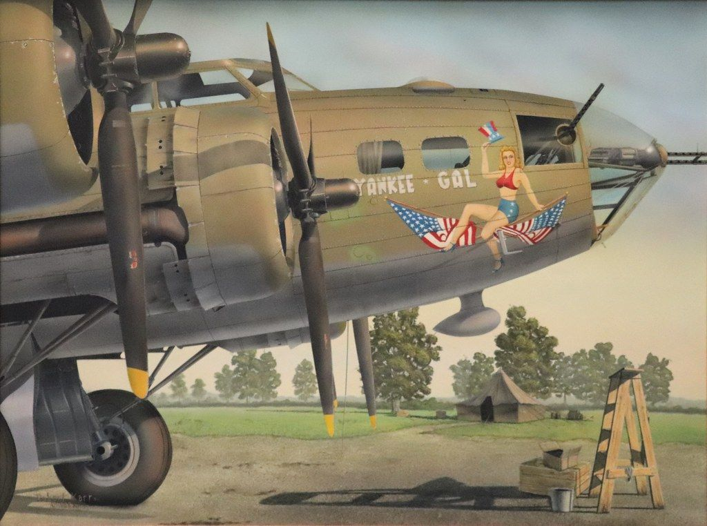 """Title """"Yankee Gal""""; Closeup of a Boeing B17 Flying"""