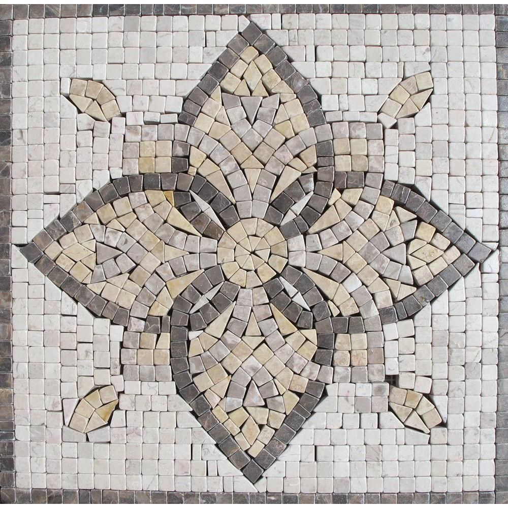 Ms International Floral Blend Medallion 12 In X 12 In Tumbled Marble Floor Wall Tile Smot Med Ma3 1212 At The Home Depot