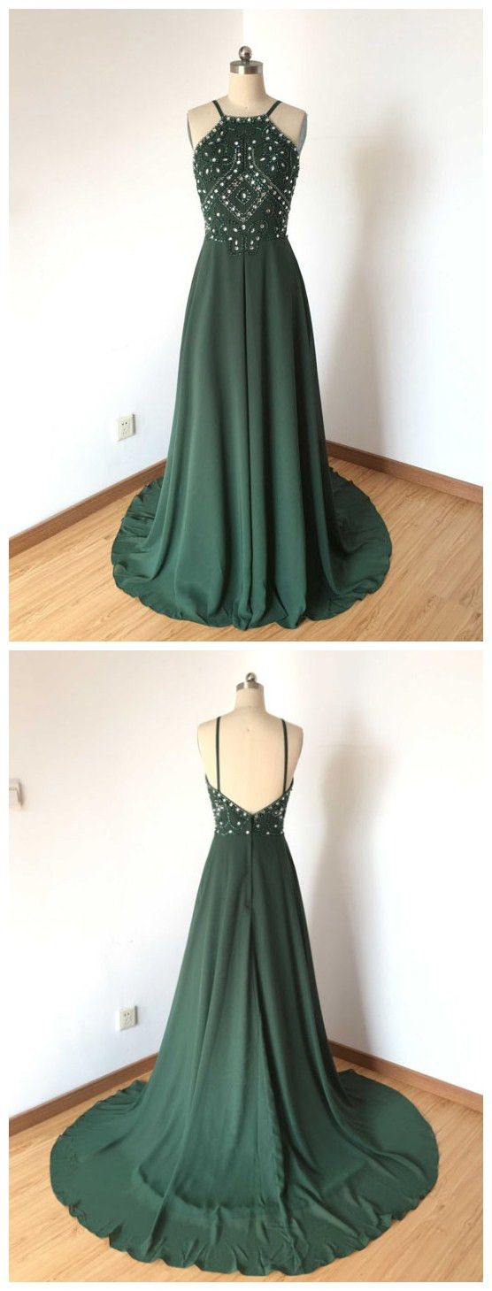 Chic dark green prom dress aline spaghetti straps chiffon prom