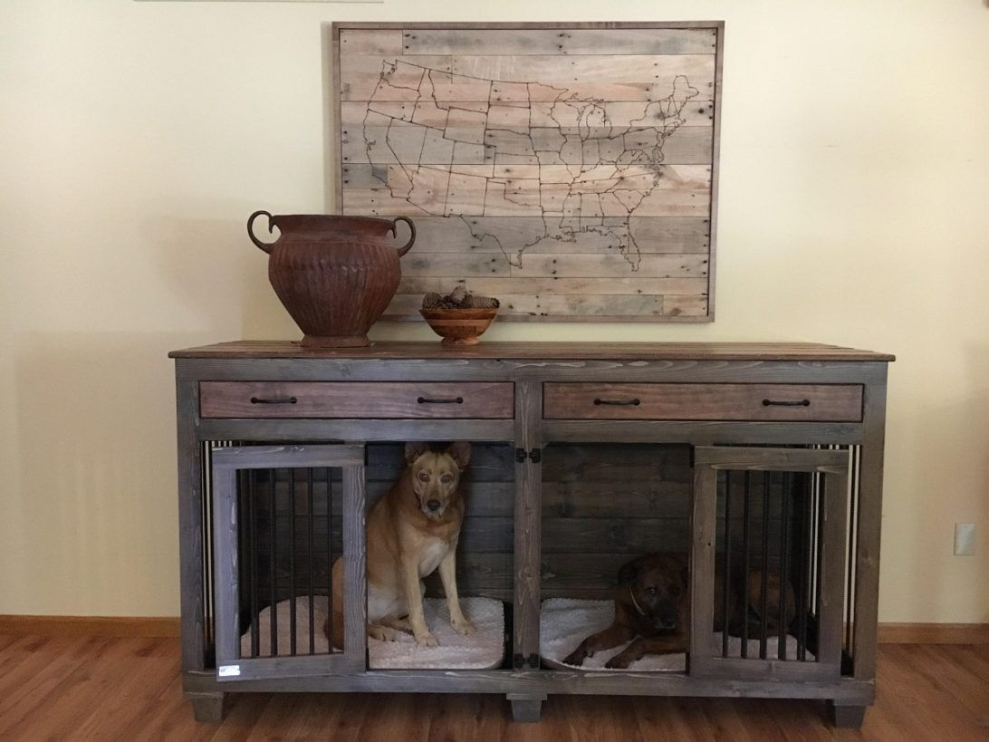 Dog Kennel Tv Stand Plans The Double Doggie Dentrade Indoor Rustic