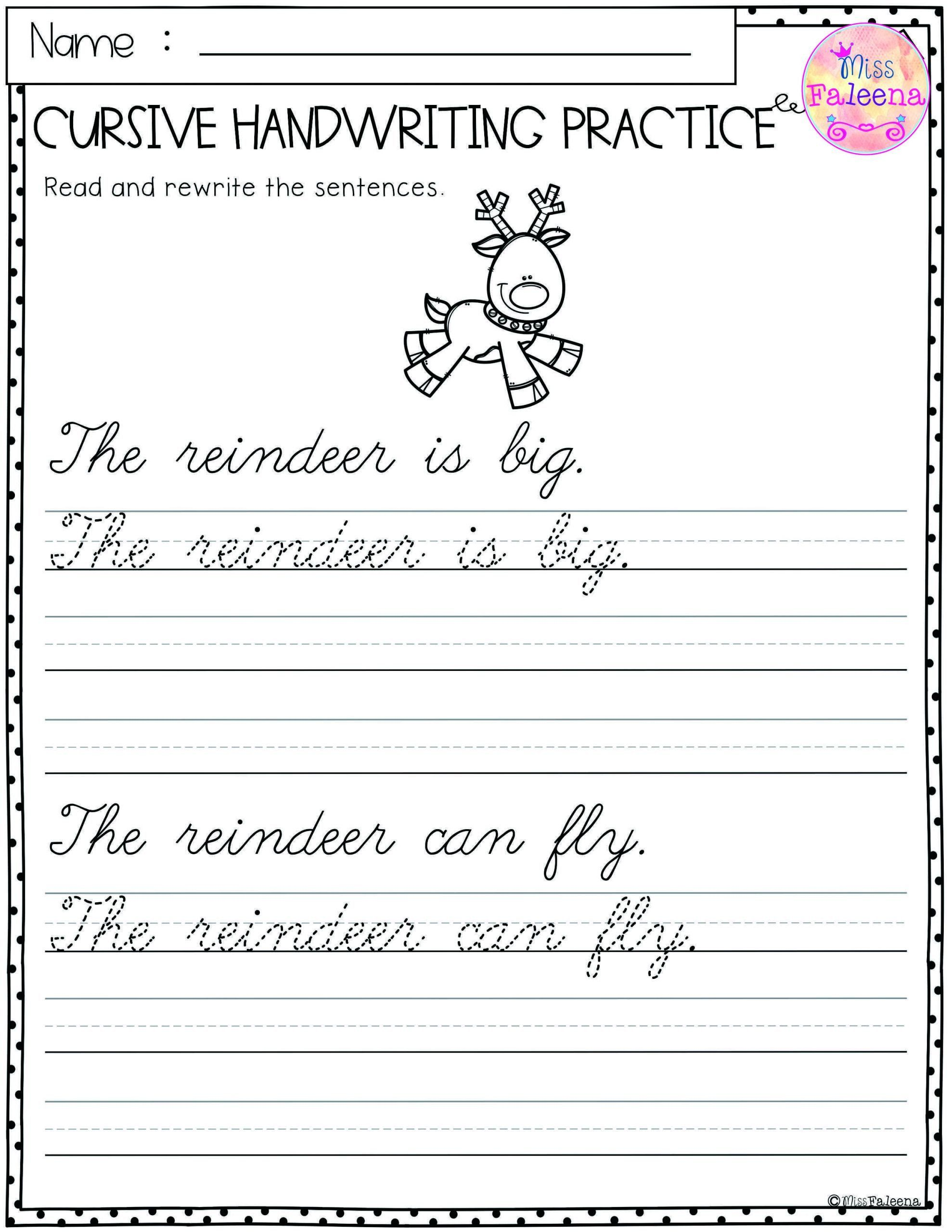 Cursive Sentences Worksheets Printable Cursive Paragraph