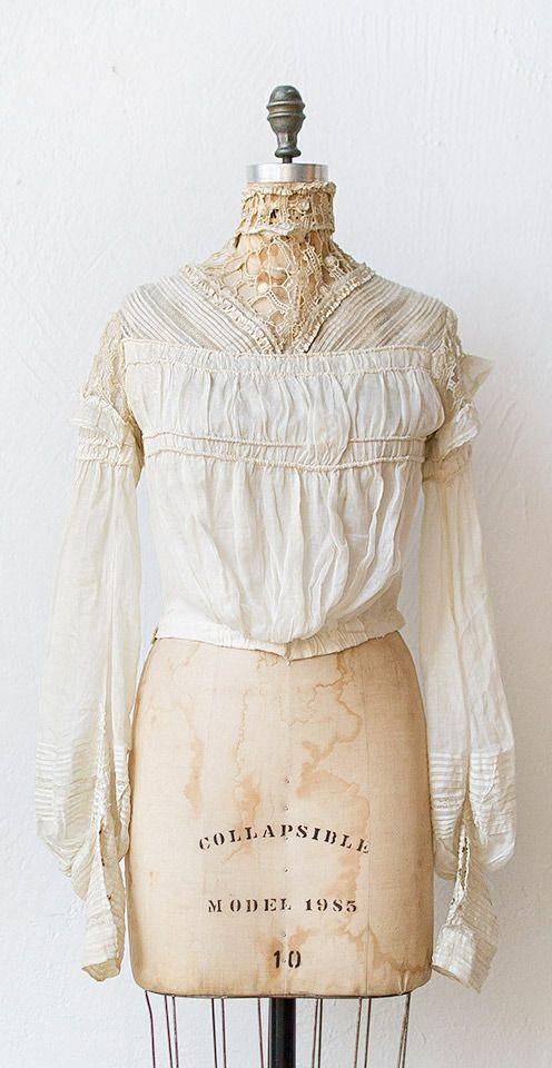 antique white lace and cotton blouse