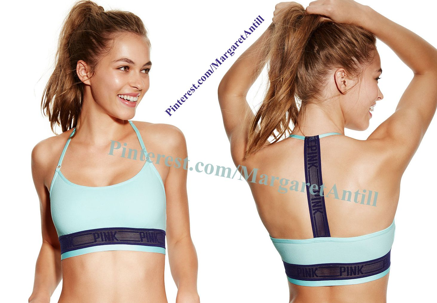 PINK Logo T-Back Cotton Bralette in Sky Blue $22.95 ...