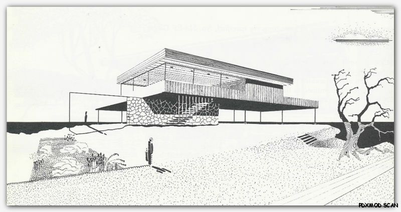 Modern Architecture Drawing 1960 architectural drawing & rendering mid century modern retro