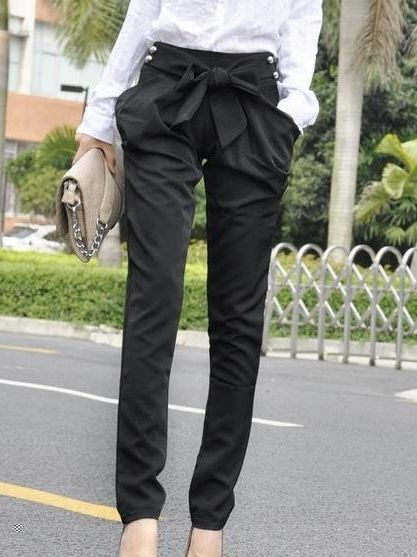Ladylike Casual   Cotton  Casual-pant Casual Pants from stylishplus.com