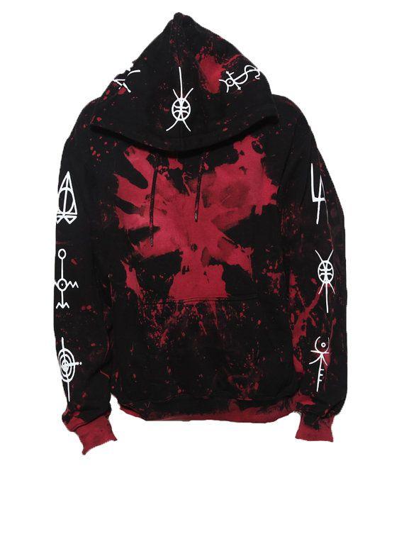Glow in the dark splatter pull over hoody with tribal lettering occult symbols die antwoord ZEF glows in the dark! eEeC3EJT