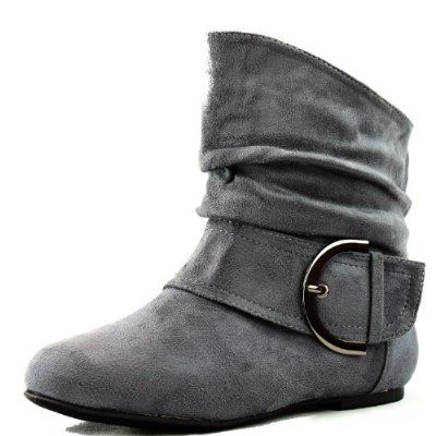 f4660c248eb8c Women's Ankle Booties Buckle Mid Calf Buckle Slouch Flat Heel Strap ...
