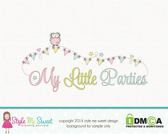 Premade Party Logo Owl Logo Bunting Logo by stylemesweetdesign, $45.00