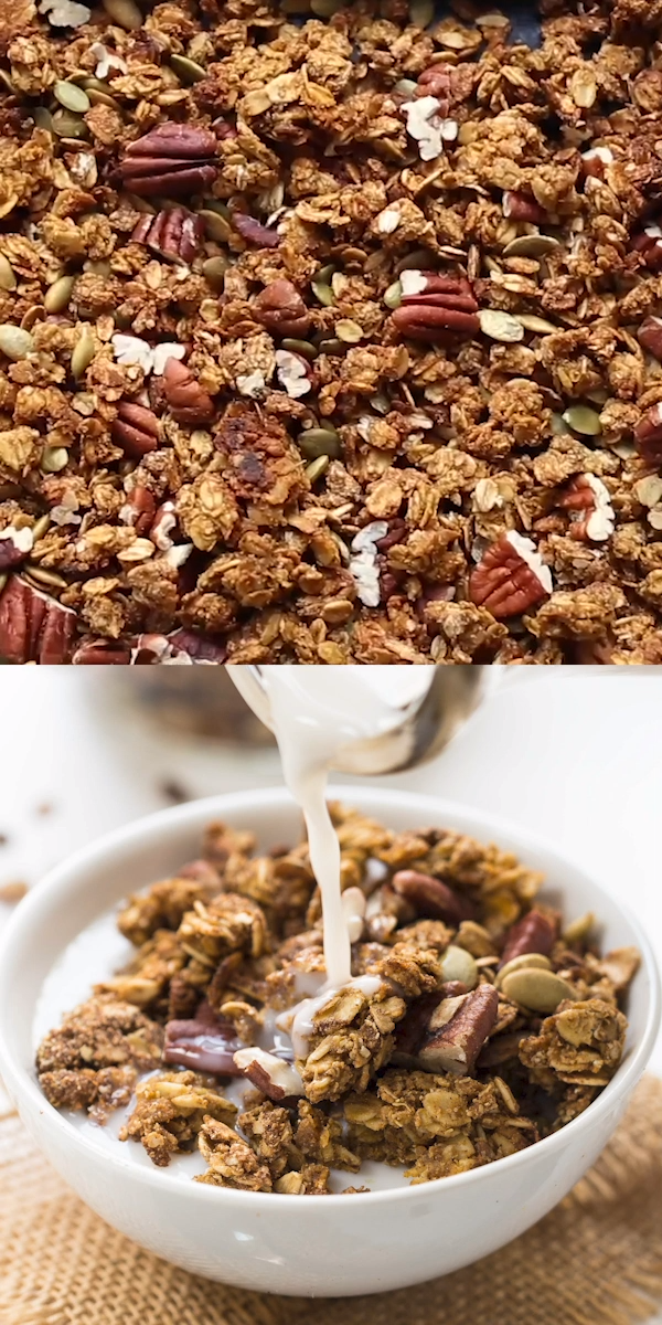 Healthy Pumpkin Quinoa Granola This Healthy Pumpkin Quinoa Granola recipe is the BEST! Healthy, flavorful easy homemade recipe that is vegan and gluten-free. Made with clean ingredients like oats, maple syrup, pumpkin, almond butter, coconut oil, pecans and more deliciousness. Try it this fall with some almond milk for a delicious breakfast idea!