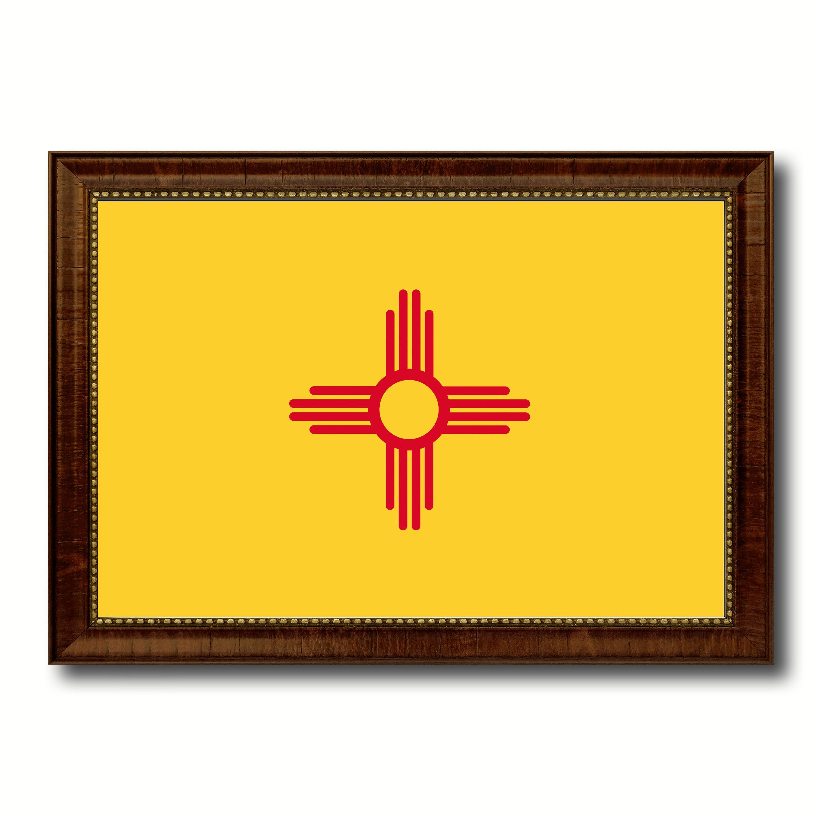 New Mexico State Flag Canvas Print with Custom Brown Picture Frame ...
