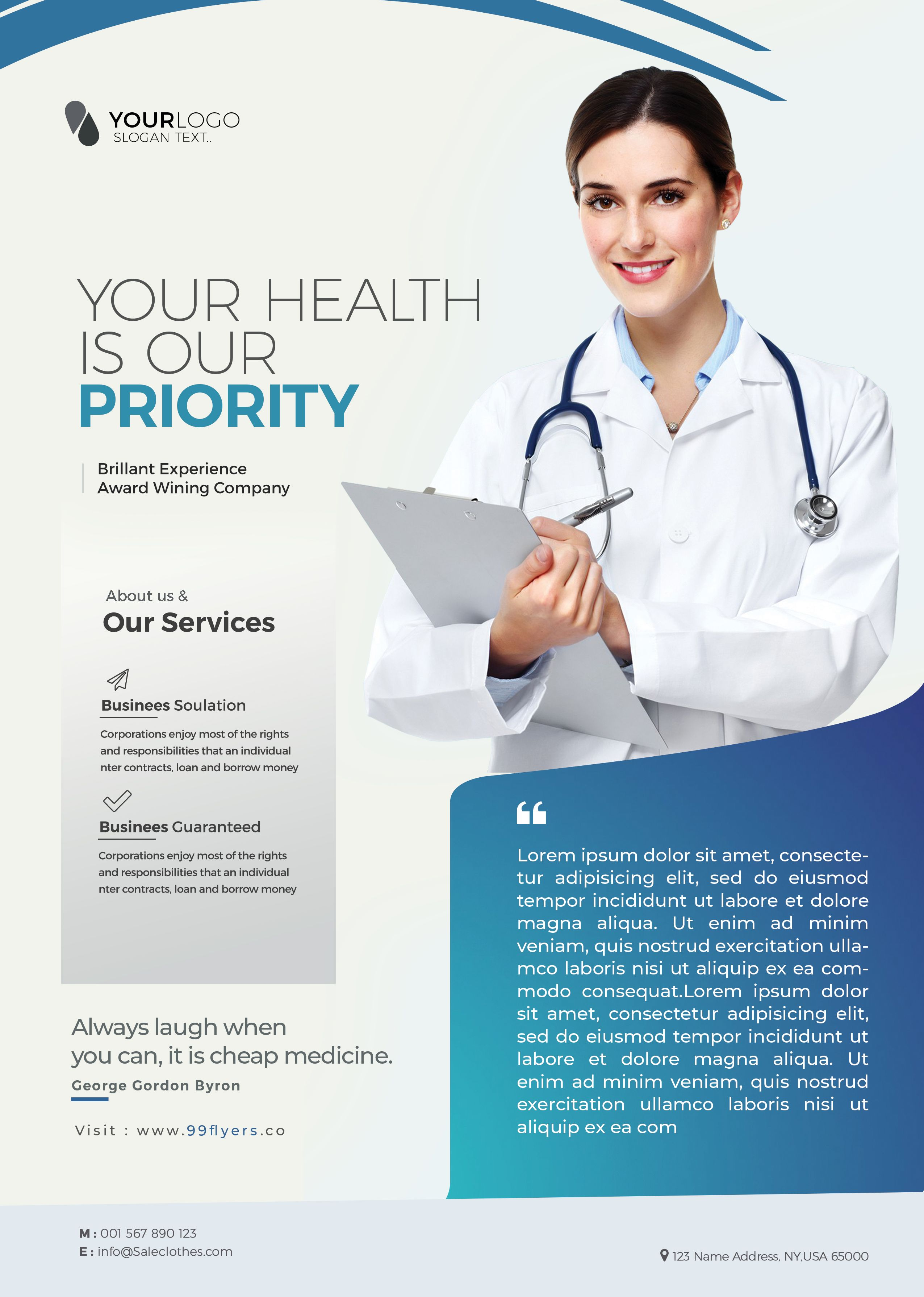Medical Health Free PSD Flyer Template in 2020 Psd flyer