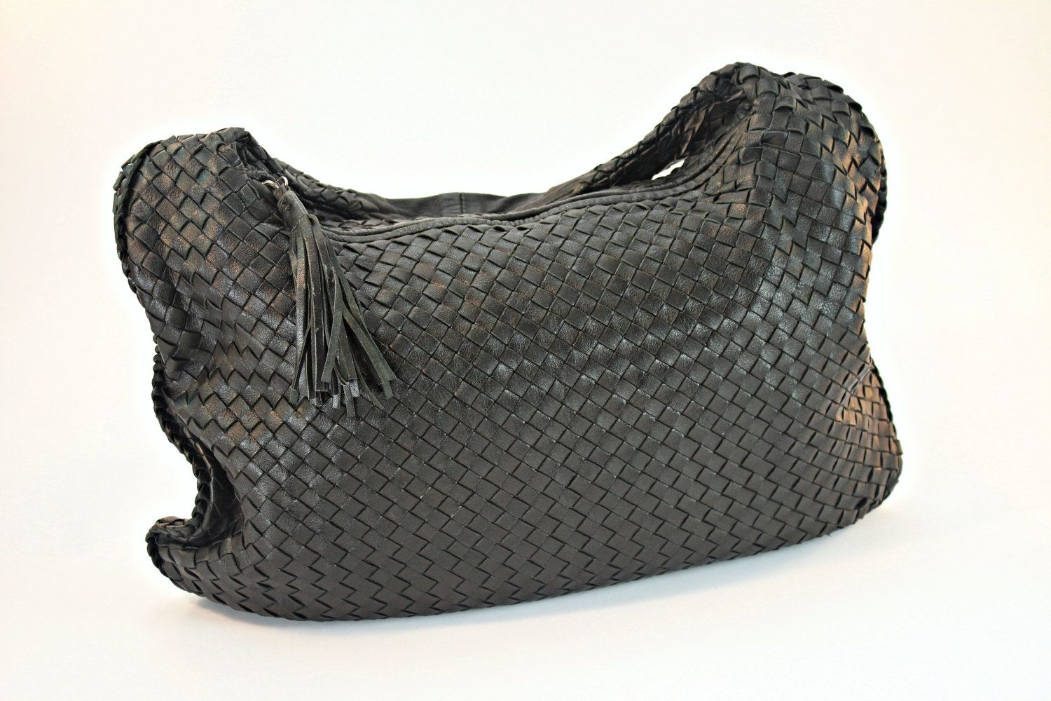 Black Woven Leather Hobo Bag, Timmy Woods Beverly Hills