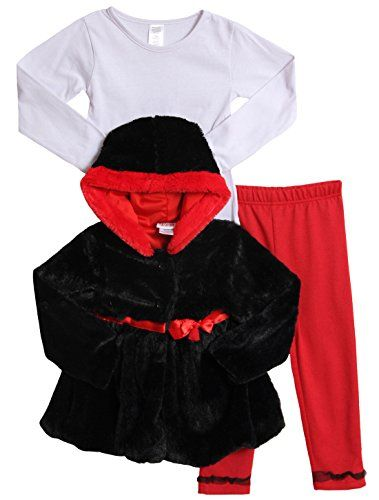 b360a4aac718 Peanut Buttons Baby Girls 3 Piece Black Red Jacket Set BlackRed 12 ...