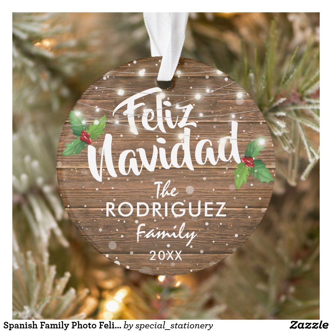 Spanish Family Photo Feliz Navidad Ornament Zazzle Com In 2020 Photo Christmas Ornaments First Christmas Photos Photo Ornaments