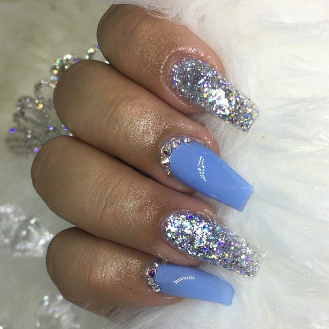 Glitter Blue acrylic nails best photo