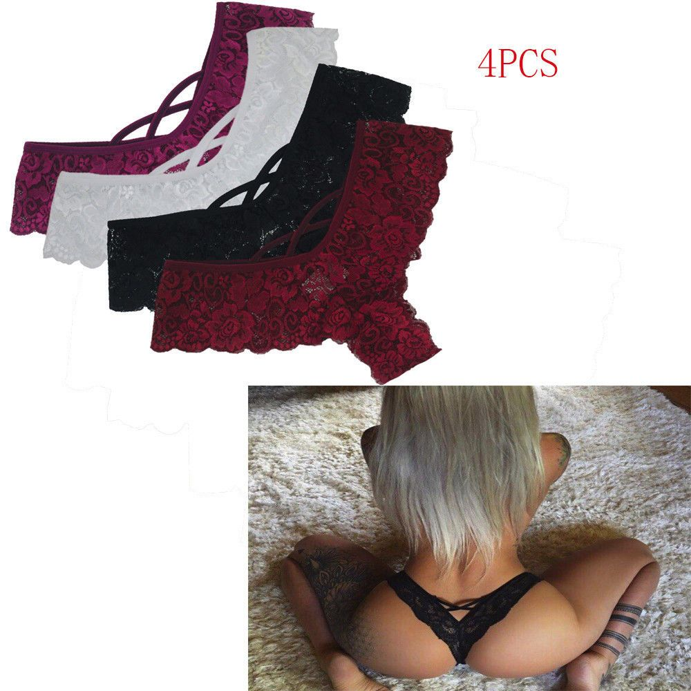 5fc8d11ed46 Sexy 4PCS Women Lace Flowers Low Waist Underwear Panties G-string Lingerie  Thong #Unbranded #Sexy $10.00