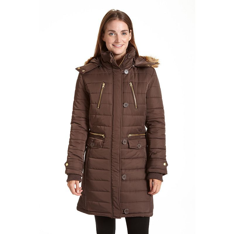 Women's Excelled Long Hooded Puffer Jacket, Size: Medium, Brown