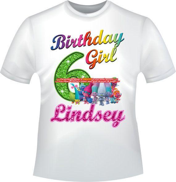 YOU PRINT Trolls Birthday Girl Iron On By BLINGITbyGinny