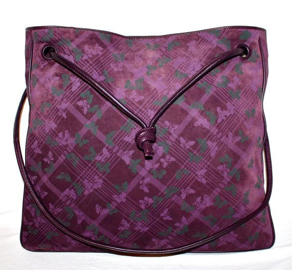 09774b7c7d BOTTEGA VENETA Vintage Butterfly Handbag Purple Suede Leather Large  Crossbody Tote - AUTHENTIC -