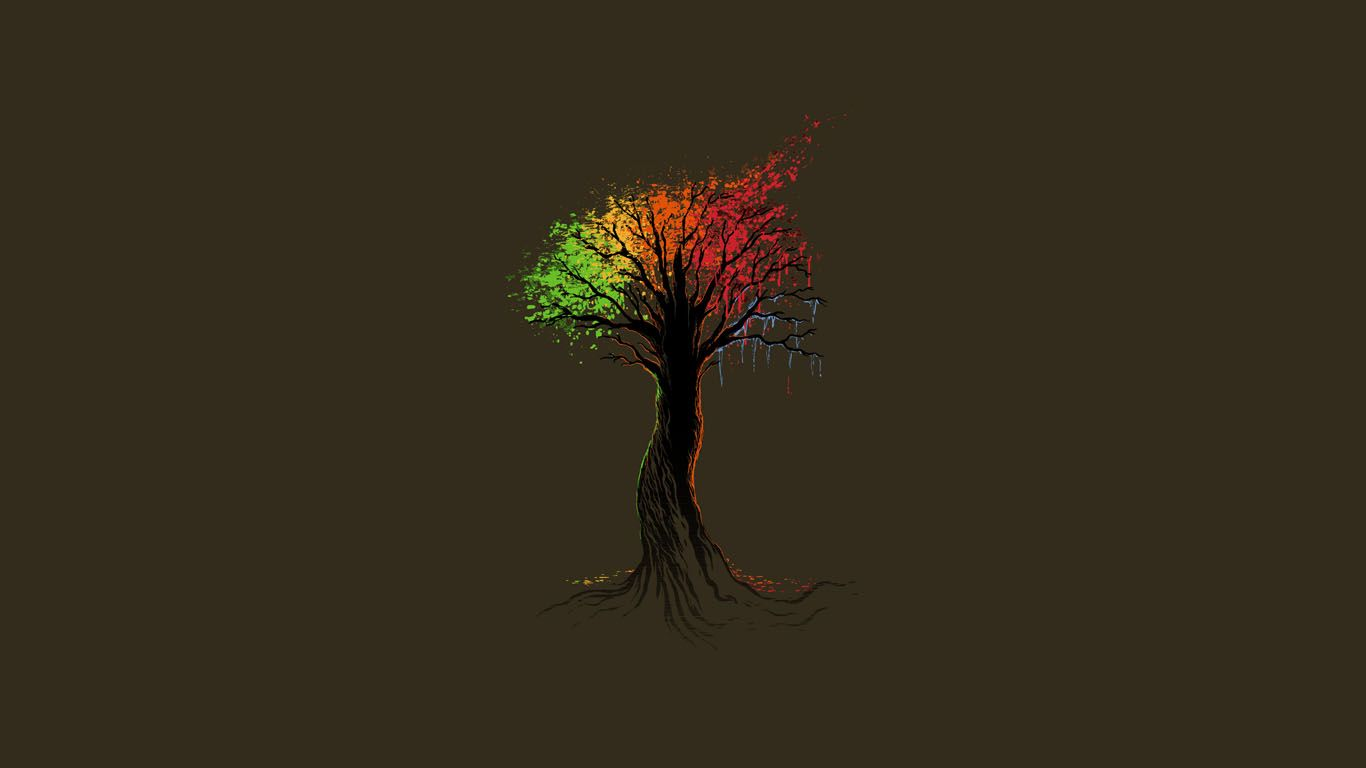 1366x768 Desktop Wallpaper High Quality: Minimalistic Trees / 1366x768 Wallpaper